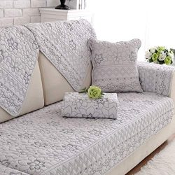 MO&SU Quilted Sofa Cover, 100% Cotton Sofa Slipcover Non-Slip Comfortable Furniture Protecto ...