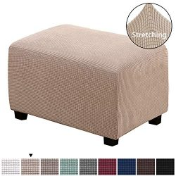 H.VERSAILTEX Spandex Elastic Rectangle Footstool Sofa Cover Footstool Protector for Living Room  ...