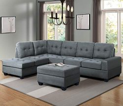 Harper & Bright Designs Sectional Sofa 3-Piece with Storage Ottoman Reversible Chaise Lounge ...
