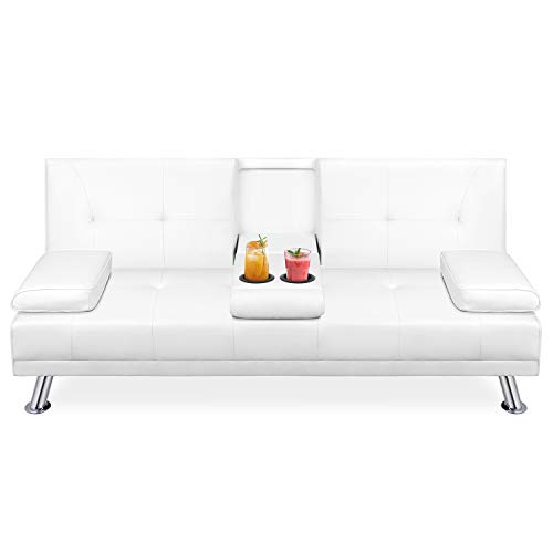 Walsunny Modern Faux Leather Couch, Convertible Futon Sofa Bed for Living Room with Armrest & ...
