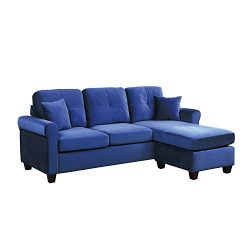 Lexicon 83-Inch Velvet Reversible Sofa Chaise, Blue