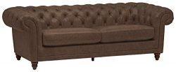 Stone & Beam Bradbury Chesterfield Tufted Leather Sofa Couch, 92.9″W, Brown