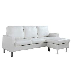 Configurable Sectional Sofa, Convertible L-Shape Couch in Bonded Leather Upholstery for Small Sp ...