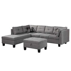 Romatpretty Sectional Interior,Easy to Assemble, Living Room/Apartment/Small Space,with 1 x 3-se ...