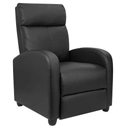 Furniwell Recliner Chair Home Theater Seating Wing Back PU Leather Modern Single Living Room Rec ...