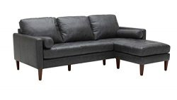 Rivet Aiden Mid-Century Leather Sectional with Tapered Wood Legs, 86″W, Black