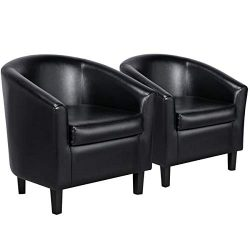 Yaheetech Accent Chairs Set of 2 Faux Leather Barrel Chair Side Chairs Club Chair for Bedroom Li ...