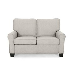 Christopher Knight Home Denise Loveseat, Mid-Century Modern, Minimal, Beige, Dark Brown