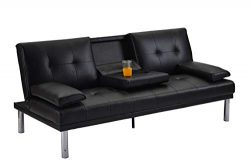 MOOSENG Convertible Sofa Bed with Armrest Recliner Couch Home Furniture, Black(pu)