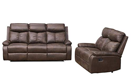 Betsy Furniture 2-PC Microfiber Fabric Recliner Sofa Set Living Room Set in Brown, Sofa and Love ...