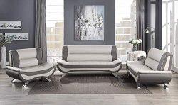 Lexicon 3-Piece Faux Leather Sofa Set, Beige/Gray