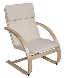 Niche Mia Bentwood Reclining Lounge Chair, 26.5″Wx28″Lx39.5″H, Natural/Beige