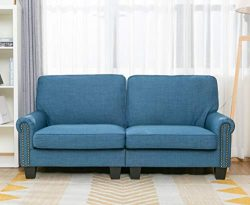70 Inch Sofa for Living Room,Sofa loveseat Soft and Easily Assemble Couch Blue Upholstered,by Li ...