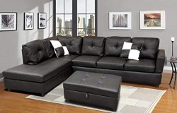 FlashBuy Sofa Sectional Sofa, L-Shape Faux Leather Sectional Sofa Couch Set with Chaise, Ottoman ...