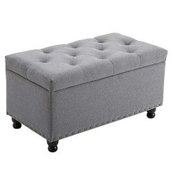 BELARDO home 31.9″ Rectangular Storage Ottoman Bench with Hinged Lid Footrest Stool Coffee ...
