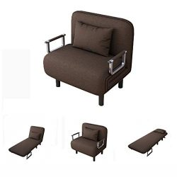 Folding Sleeper Chair Bed, Sofa Bed Single Sleeper Convertible Chair Lounger Couch Recliner Bed  ...