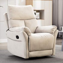 ANJ Manual Recliner, Living Room Reclining Chair Soft with Overstuffed Armrest and Back, Beige N ...