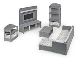 Badger Basket 10 Piece Media Room Furniture Play Set for 18 Inch (fits American Girl Dolls), Gra ...