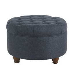 HomePop Large Button Tufted Round Storage Ottoman, Navy