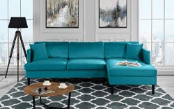 Mid Century Modern Velvet Sectional Sofa, L-Shape Couch (Blue)