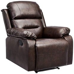 AmazonBasics Classic Faux Leather Extra Padded Recliner Chair – Brown