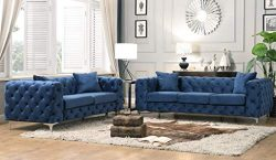 Best Master Furniture Felicity 2 Pcs Contemporary Tufted Velvet Living Room Sofa Set, Blue