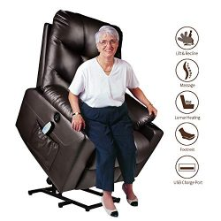 Electric Power Lift Recliner Chair for Elderly with Massage and Heat Vibration with Remote, PU L ...