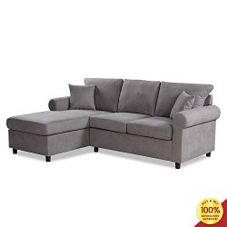 Sectional Sofa Set, 2 Pieces 3 Seaters Modern Linen Fabric L-Shaped Couch, Perfect for Living Ro ...