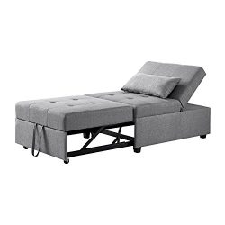 Powell Boone Convertible Sofa Bed in Gray
