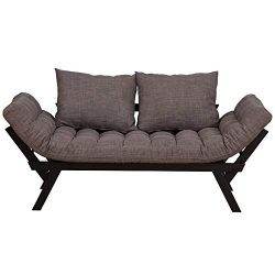 HOMCOM Click Clack Couch, Convertible Futon Sleeper Sofa Bed, Modern, Linen Fabric, 61″ L, ...