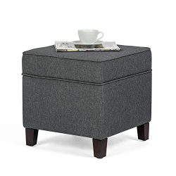 Adeco Fabric Ottoman with Storage Chest and Footrest – Square Seat, 18″x18″x15 ...
