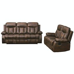 Betsy Furniture 2-PC Microfiber Fabric Recliner Set Living Room Set in Brown, Sofa Loveseat Chai ...