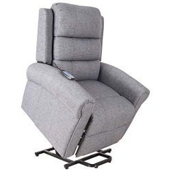 HOMCOM Heated Vibrating Massage Recliner Power Lift Chair with Remote, Grey Linen