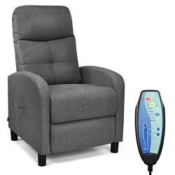 Giantex Massage Recliner Chair w/Remote Control, 5 Massage Modes, Side Pockets, Modern Ergonomic ...