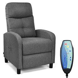 Giantex Massage Recliner Chair w/Remote Control, 5 Massage Modes, Side Pockets, Modern Ergonomic ...