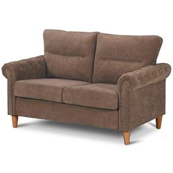 Giantex Upholstered Loveseat Sofa Couch Linen Fabric Contemporary Living Room Modern Overstuffed ...