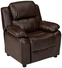 AmazonBasics LeatherSoft Kids/Youth Recliner with Armrest Storage, 5+ Age Group, Brown