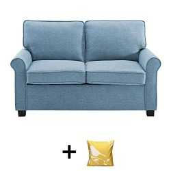 Mainstay Sofa Sleeper with Memory Foam Mattress | No-Tool Easy Assembly, Light Blue + Free Decor ...