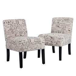 Accent Dining Chair Club Side Upholstered Letter Print Fabric Armless Living Room Chairs – ...