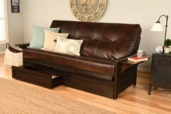Kodiak Futons Phoenix Full Size Futon in Espresso Finish with Storage Drawers, Oregon Trail Java