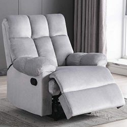 Bonzy Home Overstuffed Fabric Recliner Chair – Heavy Duty Manual Recliner – Home The ...