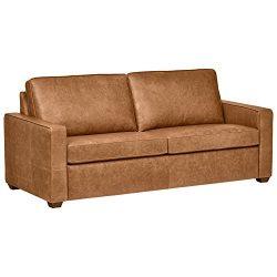 Rivet Andrews Contemporary Top-Grain Leather Sofa, 82″W, Cognac