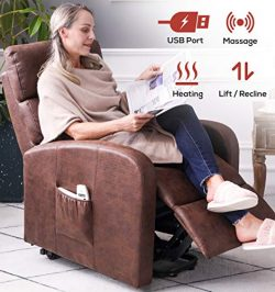 ERGOREAL Electric Lift Chair for Elderly Infinite Position Power Lift Recliner with Heat and Mas ...