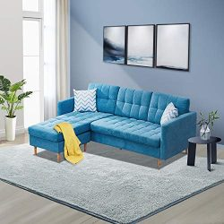 Innootechnology Convertible Sectional Sofa Bed L-Shaped Couch Linen Fabric for Small Space, Mid- ...