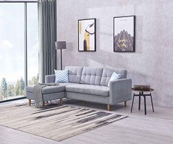 EiioX Linen Fabric Sectional Sofa L-Shape Couch, Mid-Century Modern Chaise Lounge for Living Roo ...