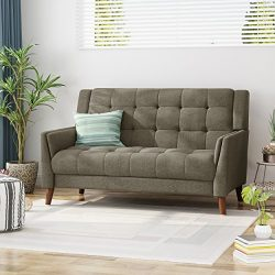 Christopher Knight Home Evelyn Mid Century Modern Fabric Loveseat, Mocha