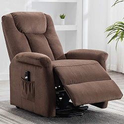 Bonzy Home Electric Power Lift Recliner Chair with Remote for Elderly, Soft Fabric Power Recline ...