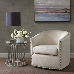 Madison Park Tyler Swivel Chair – Solid Wood, Plywood, Metal Base Accent Armchair Modern C ...