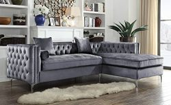 Iconic Home Da Vinci Tufted Silver Trim Grey Velvet Right Facing Sectional Sofa with Silver Tone ...