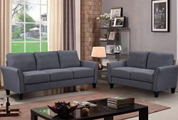 Harper & Bright Designs Sofa Couch Living Room Furniture Sofa Sets (loveseat+3-seat, Dark Grey)